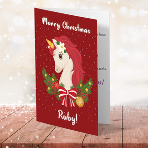 Aspire Designs Personalised Unicorn Christmas Card for Girls | Kids Child Magical Greeting Card
