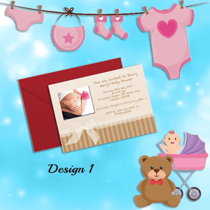 Aspire Designs Personalised Unisex Boy / Girl Baby Shower Invitations 10 / Yes