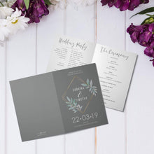 Load image into Gallery viewer, Personalised Vintage Floral Wedding Order of Service Folded Cards | A6 Size