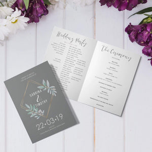 Aspire Designs Personalised Vintage Floral Wedding Order of Service Folded Cards | A6 Size 1 / No / Yes