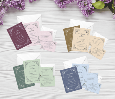 Aspire Designs Personalised Vintage Wedding Invitation Set | Day/Evening Invite, RSVP & Details Cards 10 / Yes / Invitation Only