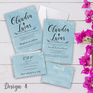 Aspire Designs Personalised Vintage Wedding Invitation Set | Day/Evening Invite, RSVP & Info Cards 10 / Yes / Invitation Only