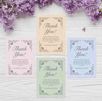 Aspire Designs Personalised Vintage Wedding Thank You Cards | Guest Favours & Envelopes 10 / Yes / Design 1