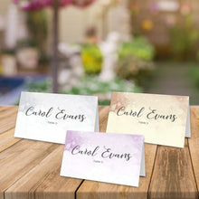 Load image into Gallery viewer, Aspire Designs Personalised Watercolor Design Table Place Name Cards Printed for Weddings, Conferences & Parties Design 1 / 1
