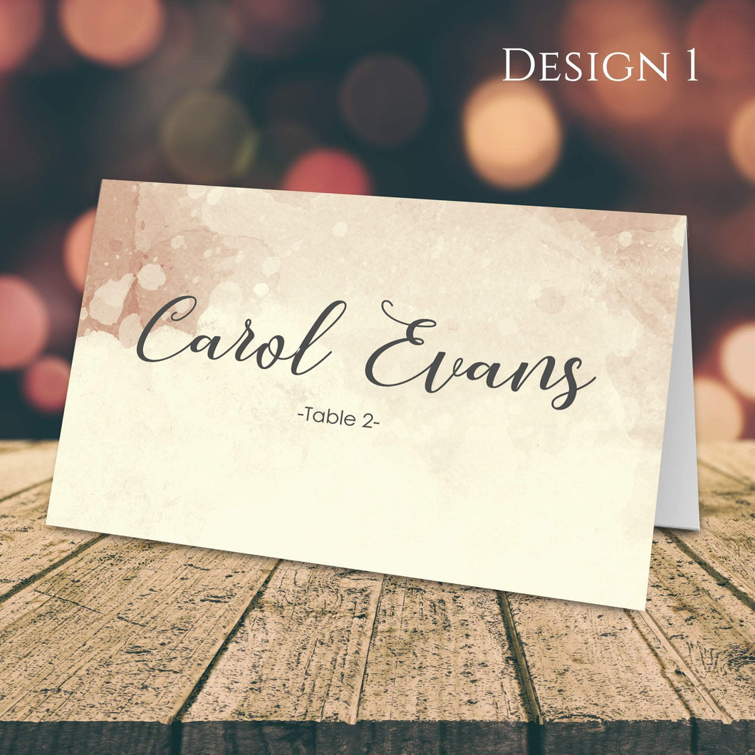 Aspire Designs Personalised Watercolor Design Table Place Name Cards Printed for Weddings, Conferences & Parties Design 1 / 1