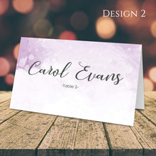Load image into Gallery viewer, Aspire Designs Personalised Watercolor Design Table Place Name Cards Printed for Weddings, Conferences & Parties Design 2 / 1