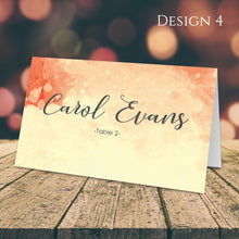 Load image into Gallery viewer, Aspire Designs Personalised Watercolor Design Table Place Name Cards Printed for Weddings, Conferences & Parties Design 4 / 1