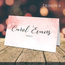 Load image into Gallery viewer, Aspire Designs Personalised Watercolor Design Table Place Name Cards Printed for Weddings, Conferences & Parties Design 6 / 1