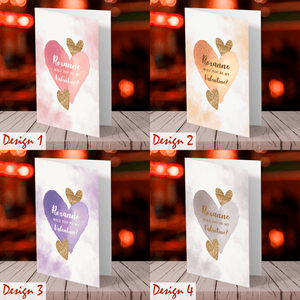 Aspire Designs Personalised Watercolour Theme Will You Be My Valentine Greeting Cards | Valentine's Day