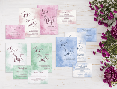 Aspire Designs Personalised Watercolour Wedding Invitation Set | Day/Evening Invite, RSVP & Info 10 / Yes / Invitation Only