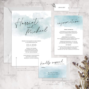 Aspire Designs Personalised Watercolour Wedding Invitation Set | Invite, RSVP, Info & Name Tag