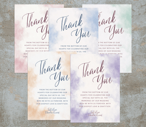 Aspire Designs Personalised Watercolour Wedding Theme Thank You Card | Thank You Note + Envelopes 10 / Yes / Design 1