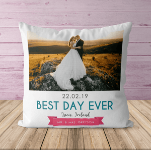 Aspire Designs Personalised Wedding Date Photo Cushion | Pillow Case & Insert | 8 Photos Gift Idea Yes / Single Sided