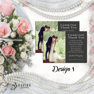 Aspire Designs Personalised Wedding Day Thank You Cards | Thank You Notes 10 / Yes / Design 1