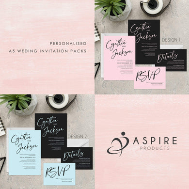 Aspire Designs Personalised Wedding Invitation Packs | A5 Day/Evening Invite, RSVP & Info Card