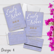 Load image into Gallery viewer, Personalised Wedding Invitation Set | Day/Evening Invite, RSVP & Info Cards