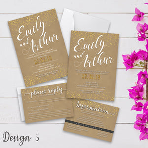 Personalised Wedding Invitation Set | Day/Evening Invite, RSVP & Info Cards