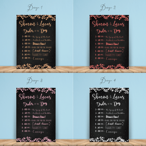Aspire Designs Personalised Wedding Order of Service Board Chalk Board Design | Wedding Order of Event Chart A1 A2 A3