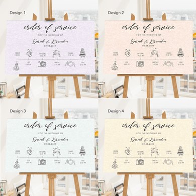 Aspire Designs Personalised Wedding Order of Service Board | Wedding Order of Event Chart A1 A2 A3