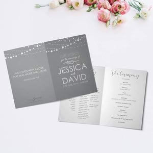 Personalised Wedding Order of Service Folded Cards | A5 Size