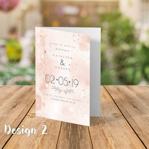 Aspire Designs Personalised  Wedding Order of Service Folded Cards | A6 Size 1 / No / Yes