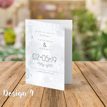 Load image into Gallery viewer, Aspire Designs Personalised  Wedding Order of Service Folded Cards | A6 Size 1 / No / Yes