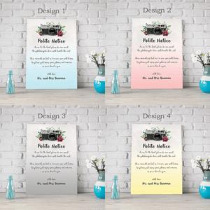Aspire Designs Personalised Wedding Polite Notice For Phones and Cameras | Unplugged Wedding Ceremony Polite Notice Board A1 A2 A3