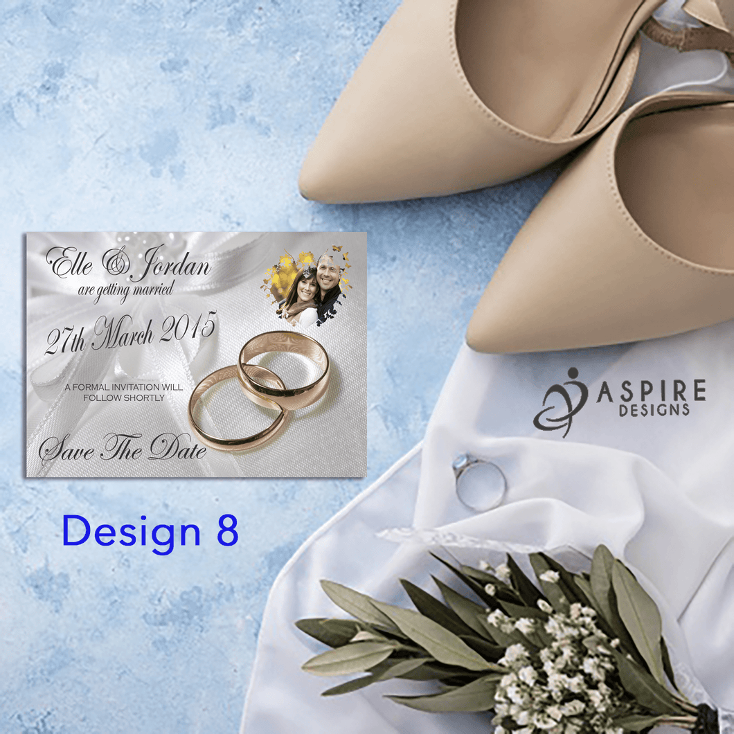 Aspire Designs Personalised Wedding Ring Save The Date Cards / Wedding Invitations 10 / Yes