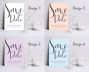 Aspire Designs Personalised Wedding Save The Date Cards | Elegant Minimalist Calligraphy Theme