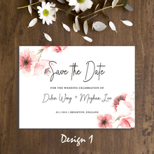 Load image into Gallery viewer, Aspire Designs Personalised Wedding Save the Date Cards | Simple Flower Watercolour | A5