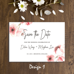 Aspire Designs Personalised Wedding Save the Date Cards | Simple Flower Watercolour | A5