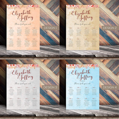 Aspire Designs Personalised Wedding Seating Plan Planner Table Plans Chart Layout | A1 A2 A3