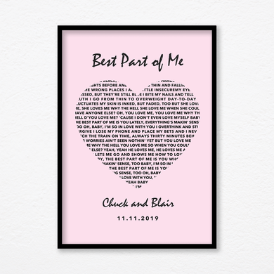 Aspire Designs Personalised 'Wedding Song' Pink Heart Print with Aluminum Frame | Wedding Gift
