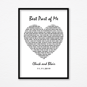 Aspire Designs Personalised 'Wedding Song' Print with Frame | Couple Wedding Anniversary Gift