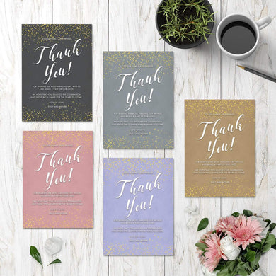 Personalised Wedding Thank You Cards Sparkly Gold Confetti | Wedding Guests Thank You Cards