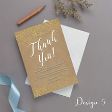 Load image into Gallery viewer, Personalised Wedding Thank You Cards Sparkly Gold Confetti | Wedding Guests Thank You Cards