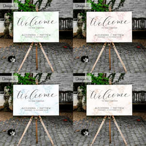 Aspire Designs Personalised  Wedding Welcome Board Marble Design Modern | A1, A2 & A3