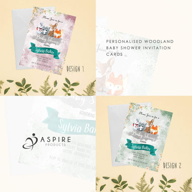 Aspire Designs Personlaised Woodland Theme Baby Shower Invitation Cards | Woodland Animals