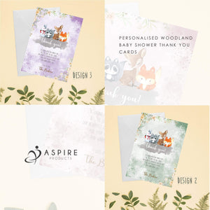 Aspire Designs Personlaised Woodland Theme Baby Shower Thank You Cards | Woodland Animals