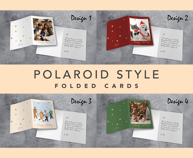 Aspire Designs Polaroid Style | Personalised Christmas or Holiday Greeting A5 Size Folded Cards with or without Envelopes