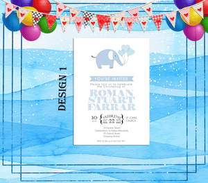 Aspire Designs Premium Personalised Christening ~ Baptism ~ Naming Day Invitations 10 / Yes / Blue (Boy)