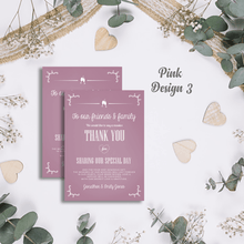 Load image into Gallery viewer, Aspire Designs Premium Personalised Wedding Thank You Cards | Wedding Guest Thanks 10 / Yes / Design 3