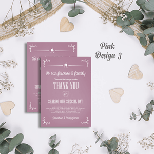 Aspire Designs Premium Personalised Wedding Thank You Cards | Wedding Guest Thanks 10 / Yes / Design 3