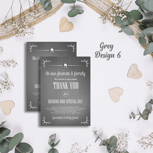 Aspire Designs Premium Personalised Wedding Thank You Cards | Wedding Guest Thanks 10 / Yes / Design 6