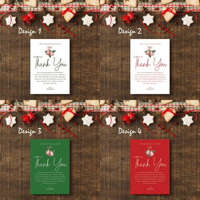 Aspire Designs Simple Theme | Personalised A5 Size Christmas Party Thank You Cards