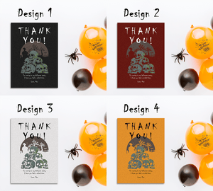 Aspire Designs Skull Theme | Personalised Scary Adults or Kids Halloween Party Thank You Cards