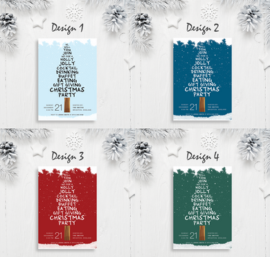 Aspire Designs Snow and Christmas Tree | Personalised A5 Size Christmas Party Invitations