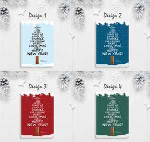 Aspire Designs Snow and Christmas Tree | Personalised A5 Size Christmas Party Thank You Cards