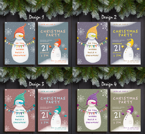 Aspire Designs Snowman Theme | Personalised Merry Christmas Party A5 Double Sided Invitations | Holiday Greeting Cards