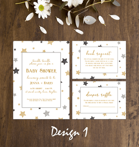 Aspire Designs Twinkle Little Star Baby Shower Invitation Set | Personalised Invites, Book Request & Diaper Raffle